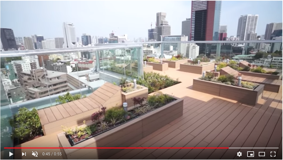 屋上にはスカイテラスがあります 緑に囲まれて日光浴もでき癒されますね